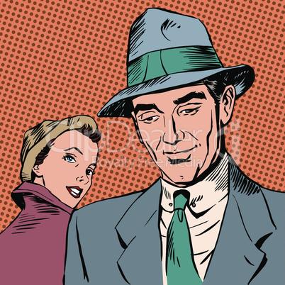 Meeting woman glanced man style art pop retro