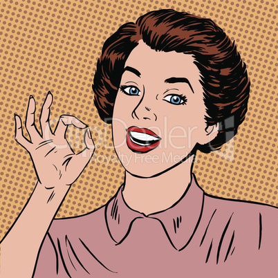 Woman showing okay gesture well the quality is perfectly fine style art pop retro