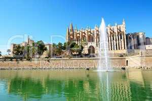 The fountain near Cathedral of Santa Maria of Palma in Palma de