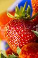 Erdbeere im Hochformat als Makro