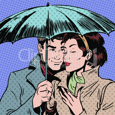 Rain man and woman under umbrella romantic relationship courtship art pop retro vintage