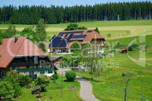 Landschaft im Sommer mit Bauernhöfen im Schwarzwald