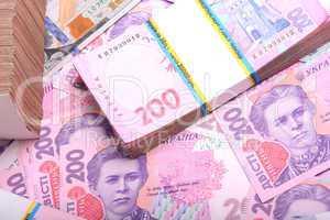 Pile of ukrainian money grivna