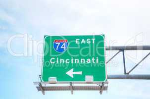 Road sign to Cincinnati