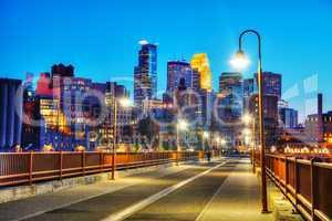 Downtown Minneapolis, Minnesota at night time
