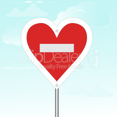 "No loving sign. Vector illustration. composition with the heart and the road sign ""stop""."