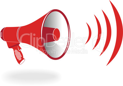 Loudspeaker vertical hot wave. Vector illustration.