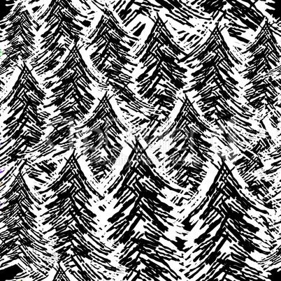 Seamless background pattern tree . Vector nature illustration.