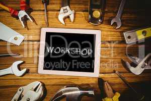 Workshop against tools on desk