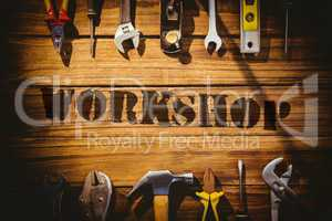 Workshop against desk with tools