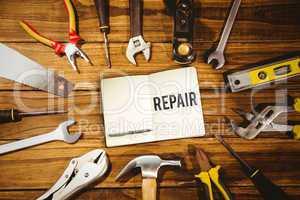 Repair against tools on desk