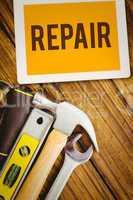 Repair against desk with tools
