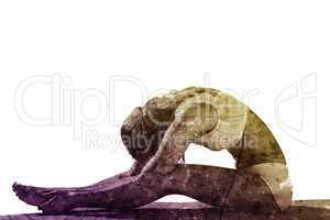 Composite image of gorgeous fit blonde in seated forward bend po