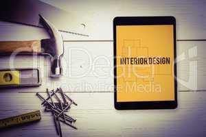 Interior design against blueprint