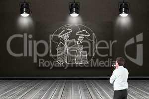 Composite image of thinking businessman biting glasses