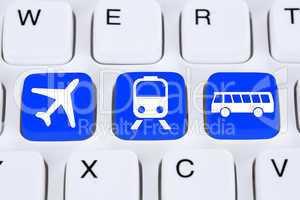Reise online im Internet buchen mit Flugzeug, Bahn oder Bus