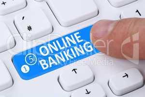 Internet Online Banking Überweisung Button drücken am Computer