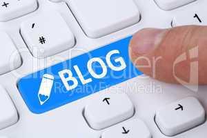 Button drücken Blog schreiben online im Internet