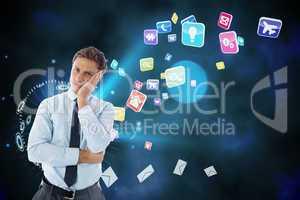 Composite image of upset thinking businessman