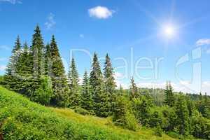 High mountains and sun
