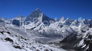 Ama Dablam and distant view of Pheriche