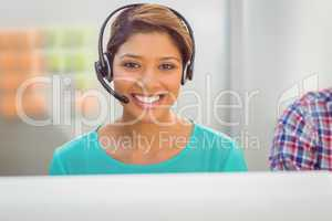 Call centre representative using headset
