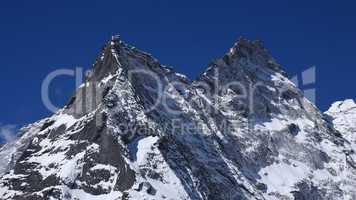Pointed mountain peaks