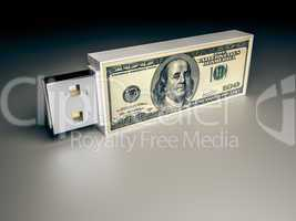 usb drive with dollar note