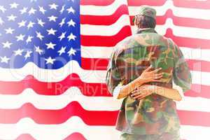 Composite image of army wife reunited with husband