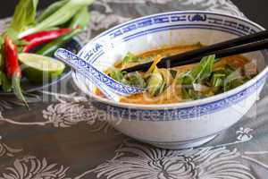 Appetizing Asian Food on White Bowl on Table