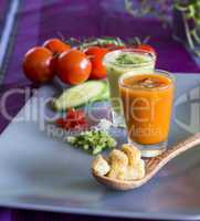 Two glasses of chilled gazpacho soup