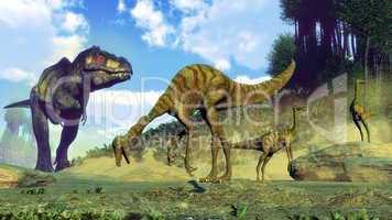 Tyrannosaurus rex surprising gallimimus dinosaurs - 3D render