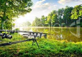 Fishing rods near river