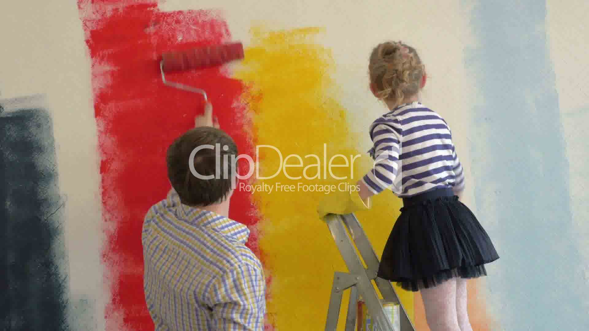Father and daughter painting walls in bright colors: Royalty-free ...