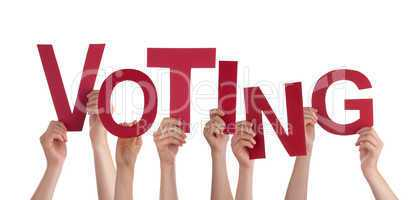 Many People Hands Holding Red Word Voting