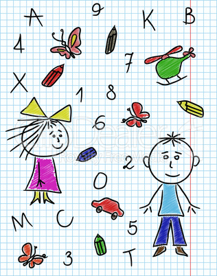 Colouring school kit on notebook sheet