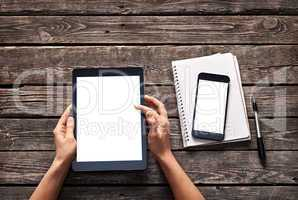 Woman scroll down screen of digital tablet