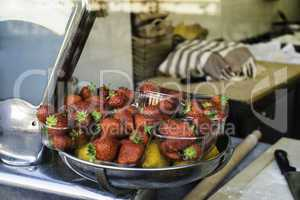 Bakery in Italy. Bowl of strawberries