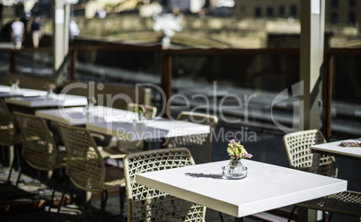 Authentic italian coffee tabl?. Flowers on the table