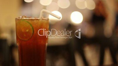 Ice tea with lime slice