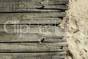 Wood boards on the beach