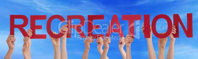 Many People Hands Holding Red Straight Word Recreation Blue Sky