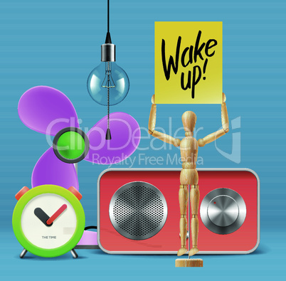 Wake up! Workspace mock up with analog alarm clock, sound system, fan, wooden mannequin, vector illustration.
