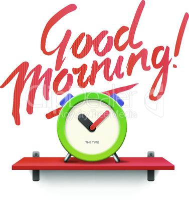 Good Morning! Workspace mock up with  analog alarm clock, vector illustration.