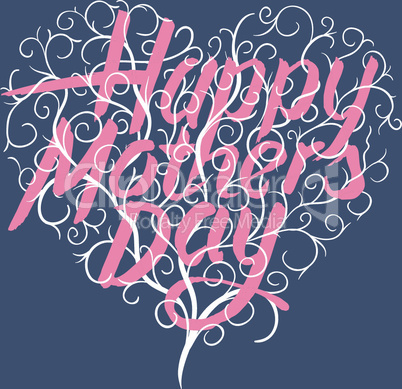 Happy mothers day, vintage typographical card, vector illustration.