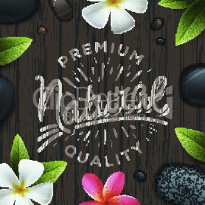 Natural premium quality label, spa concept, vector illustration.