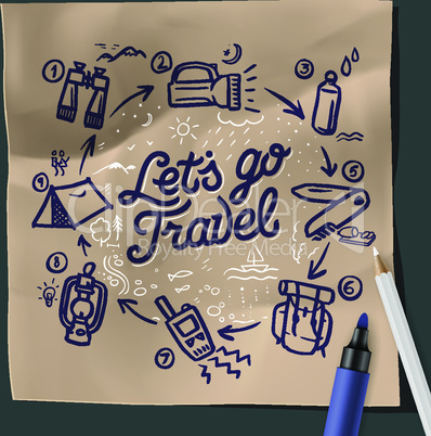 Lets go travel, adventure motivation concept, camping, fishing, hiking, vector illustration.