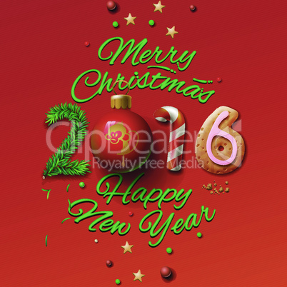Happy New Year 2016 Greeting Card and Merry Christmas, vector illustration.