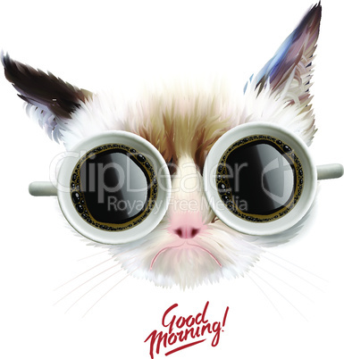Good morning! Funny cat with cups of coffee glasses, vector illustration.