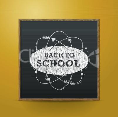 Back to school, blackboard on the wall, vector illustration.